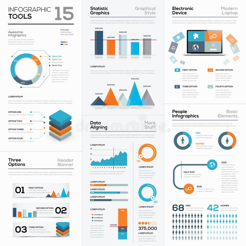 Modern infographic business elements and vector tools vector illustration