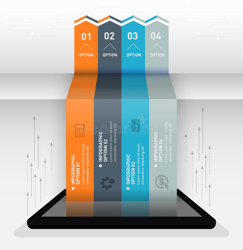 Modern infographic business origami style options banner royalty free illustration
