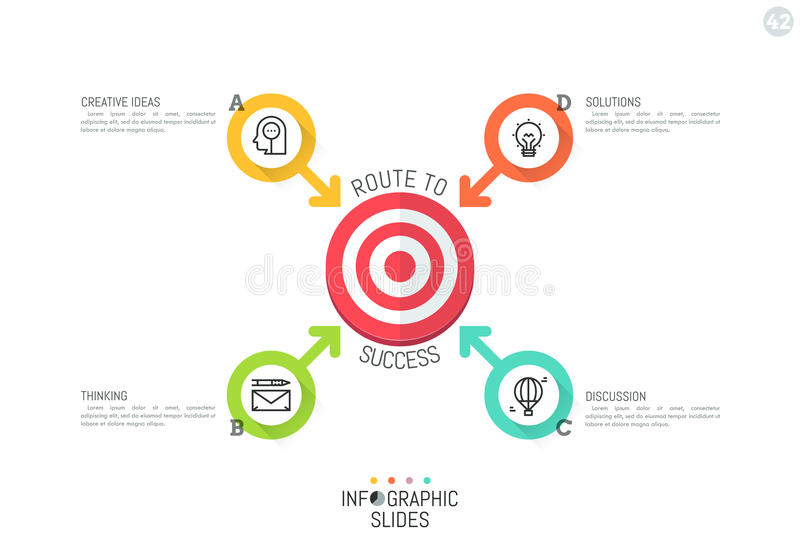 Modern infographic design layout. Four lettered circular elements with arrows pointing at target symbol in center. 4 ways to solve problem concept. Vector royalty free illustration