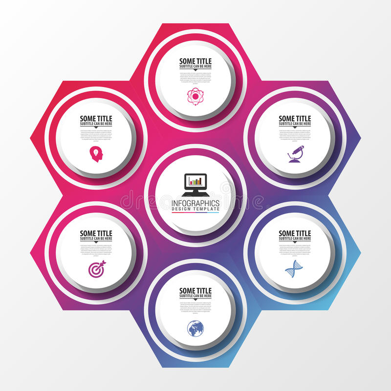 Modern infographic design template. Circle in hexagon. Vector illustration royalty free illustration