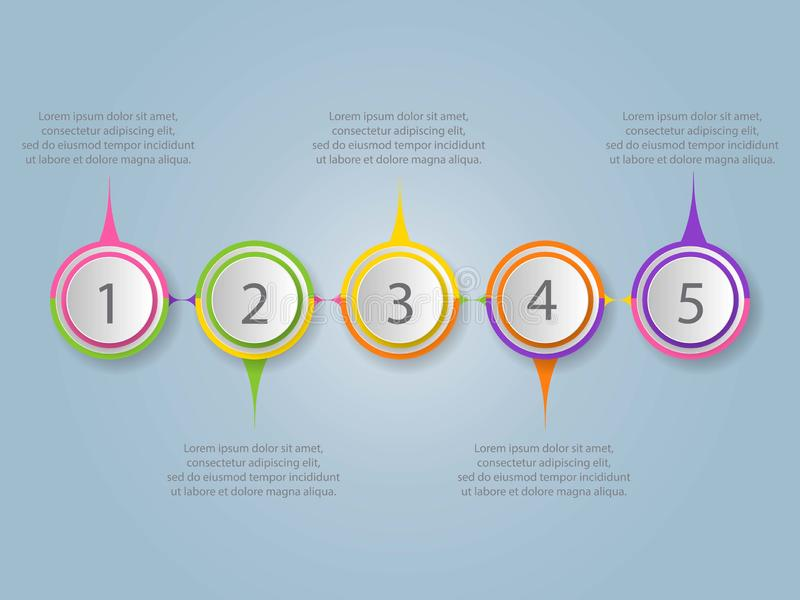 Modern infographic design template 5 connected multicolored circular elements with text boxes. Business project completion stock illustration