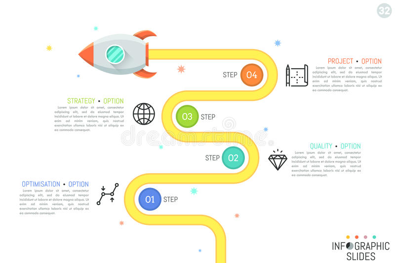 Modern infographic design template with flying rocket, 4 numbered circular elements, linear pictograms and text boxes vector illustration