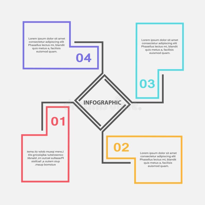 Modern infographic designmall med 4 momentbeståndsdelar och textaskar arkivbild