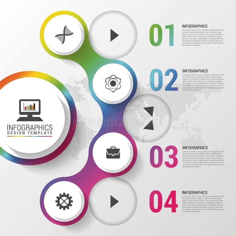Modern infographic designmall också vektor för coreldrawillustration Kan användas för diagrammet, banret, nummeralternativ, workf vektor illustrationer
