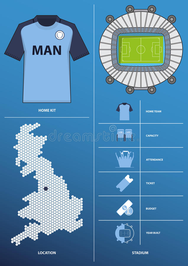 Modern infographic for football club in flat design include map, stadium, jersey, kit. Vector. vector illustration