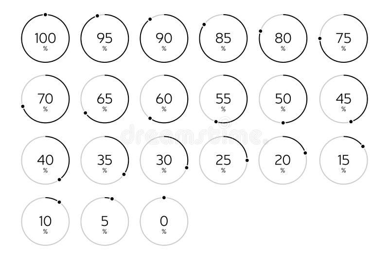 Modern Infographic Loading Circle Set - Black stock illustration