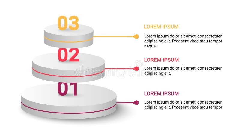 Modern infographic mall för vektor med tre moment som isoleras på vit bakgrund stock illustrationer