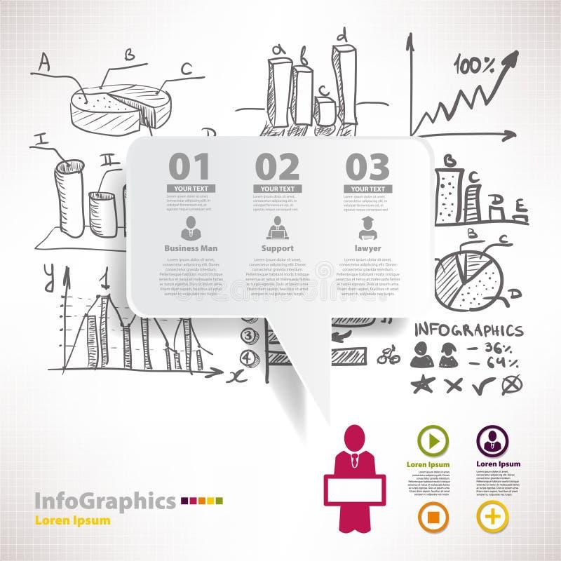 Modern infographic malplaatje voor bedrijfsontwerp met schets royalty-vrije illustratie
