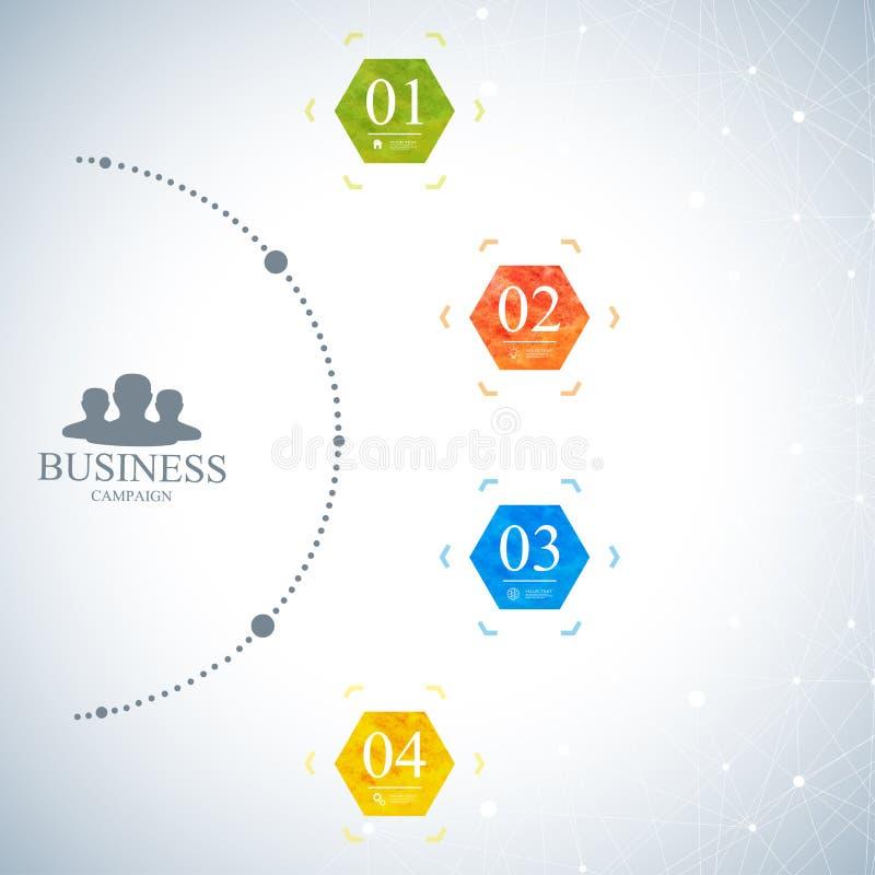 Modern infographic nätverksmall Affärsidé med 4 alternativ också vektor för coreldrawillustration stock illustrationer