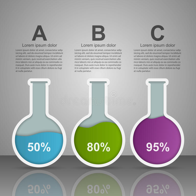 Modern infographic on science and medicine in the form of test tubes. Design elements. royalty free illustration