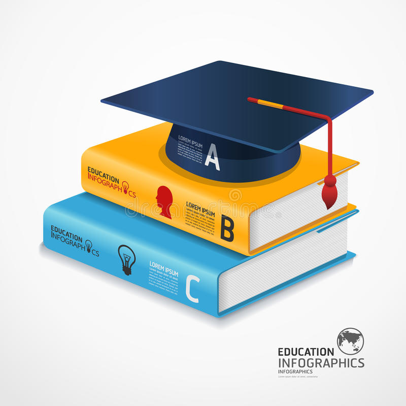 Download Modern Infographic Template With Book And Graduation Cap. Stock Vector - Illustration of idea, color: 39434749