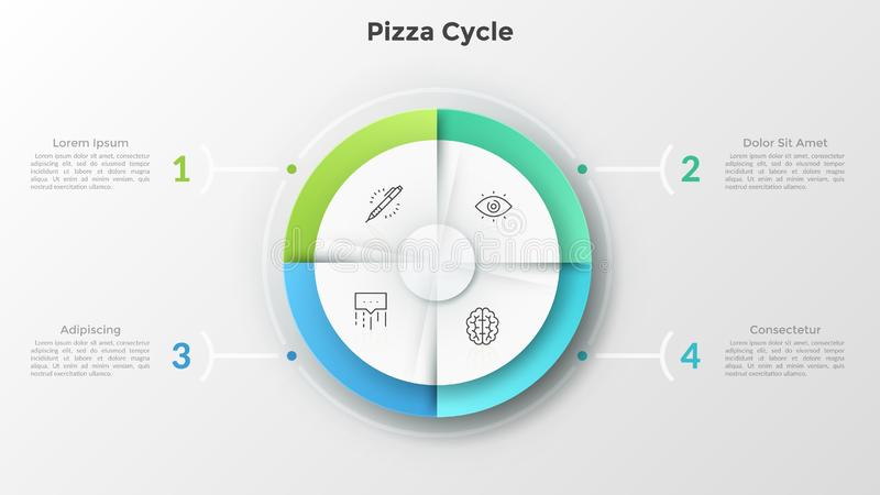 Modern Infographic Template. Circular pie chart divided into 4 equal pieces with thin line icons inside connected to numbered text boxes. Concept of pizza cycle stock illustration