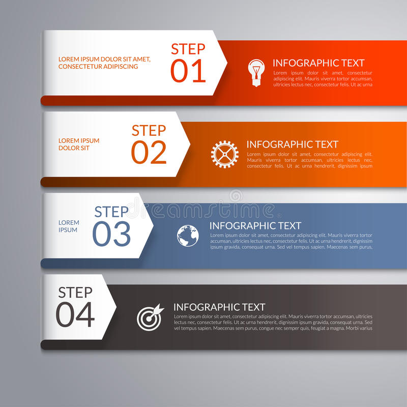 Modern infographic template with curved paper arrows. 4 steps, parts, options, stages abstract vector background stock illustration
