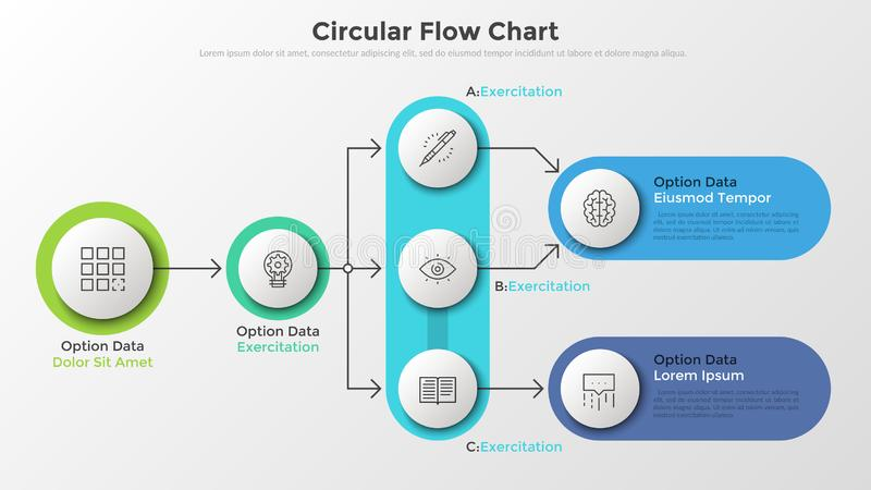 Modern Infographic Template. Flow diagram or workflow chart with round paper white elements connected by arrows, linear symbols and place for text. Scheme of vector illustration