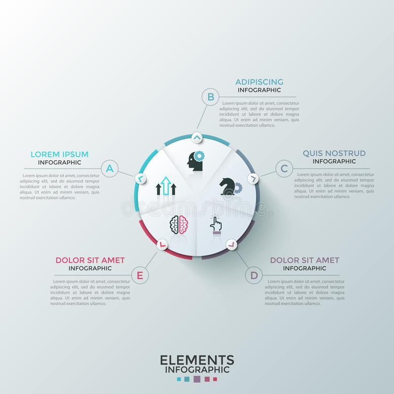 Modern Infographic Template. Round paper white pie chart divided into 5 equal sectors with flat icons inside connected to text boxes. Concept of five-stepped royalty free illustration
