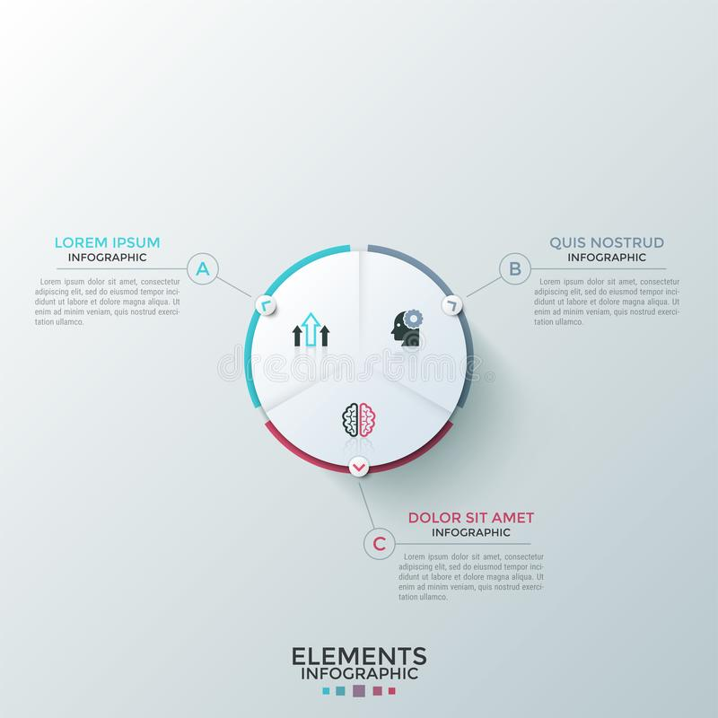 Modern Infographic Template. Round paper white pie chart divided into 3 equal sectors with flat icons inside connected to text boxes. Concept of three-stepped royalty free illustration