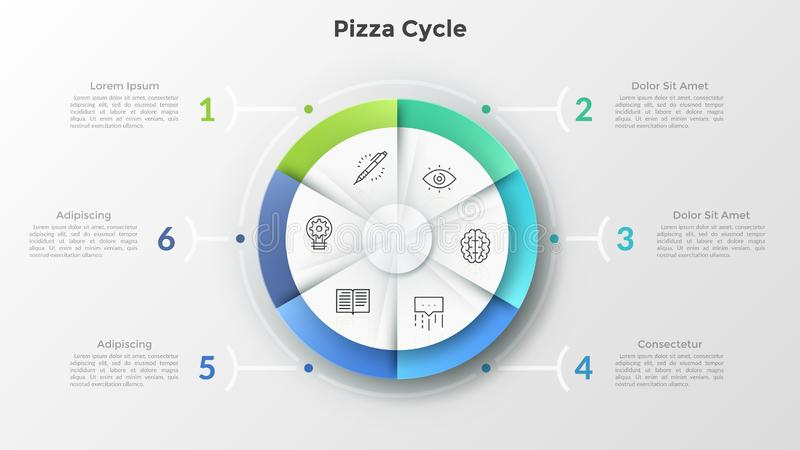 Modern Infographic Template. Round pizza chart divided into 6 equal sectors with linear symbols inside connected to numbered text boxes. Concept of six features vector illustration