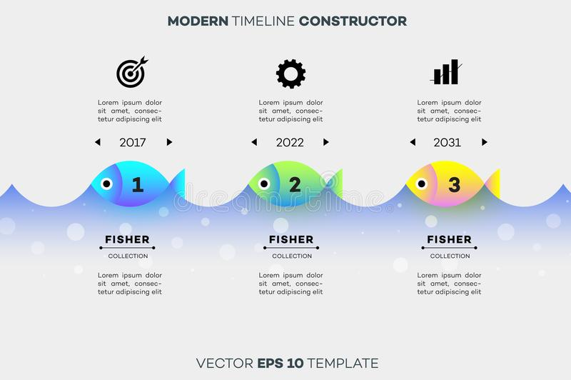 Modern Infographic Timeline Constructor For Fishing Industry. Conceptual Vector Background. Template For Business. Presentations stock illustration