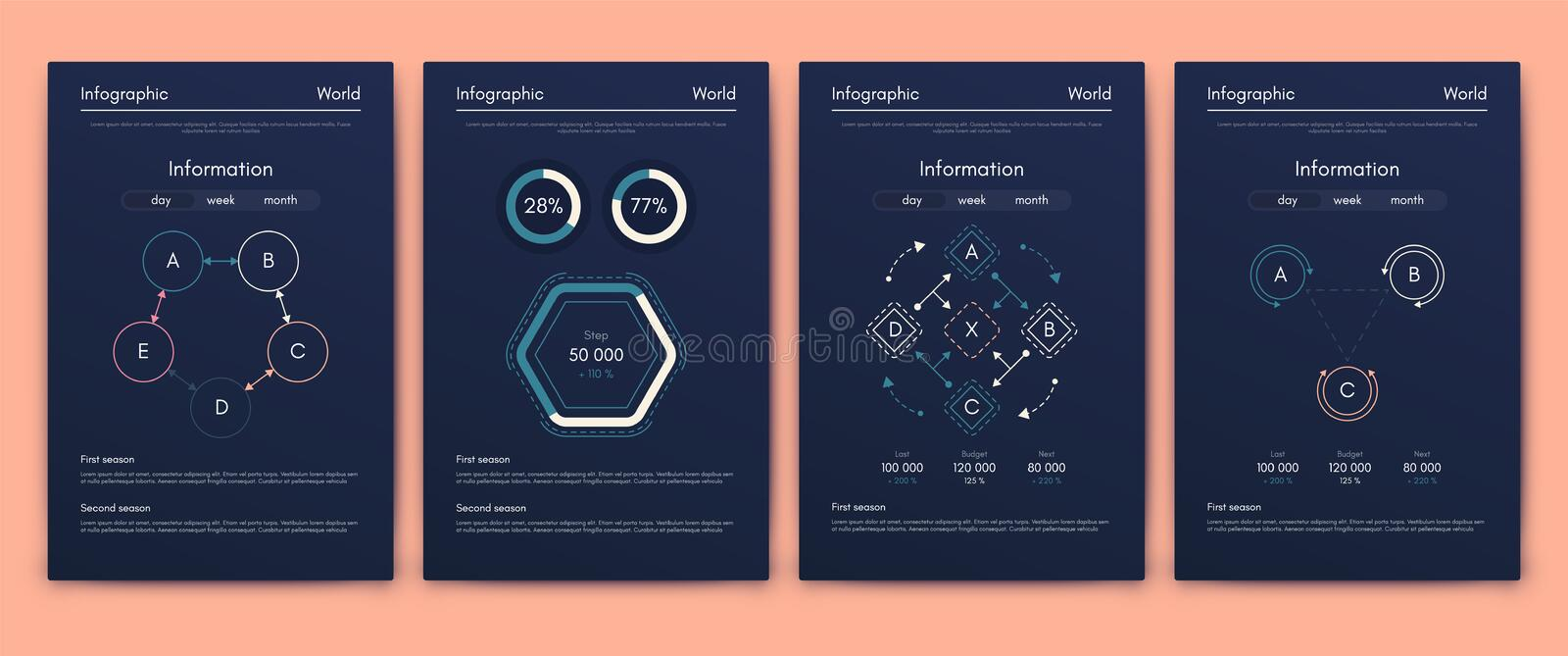Modern infographic vector concept. Business graphics brochures. Used for workflow layout, diagram, number options, step up options, web template, infographics royalty free illustration