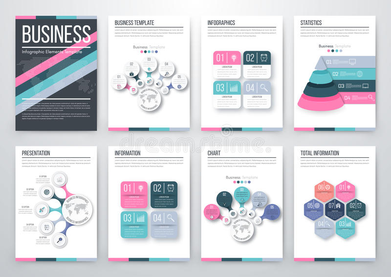 Modern infographic vector concept. Infographic vector set. Business graphics brochures a4 stock illustration