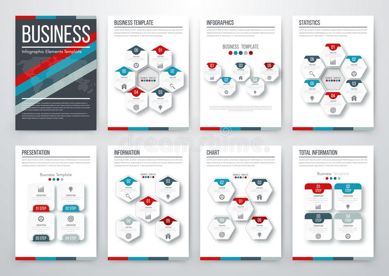 Modern infographic vector concept. Infographic vector set. Business graphics brochures a4 royalty free illustration