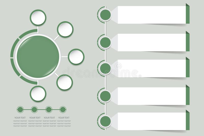Modern infographic vector in faded shade of green color. Modern infographic labels as a circle in faded shade of green color with small circles around. For your vector illustration
