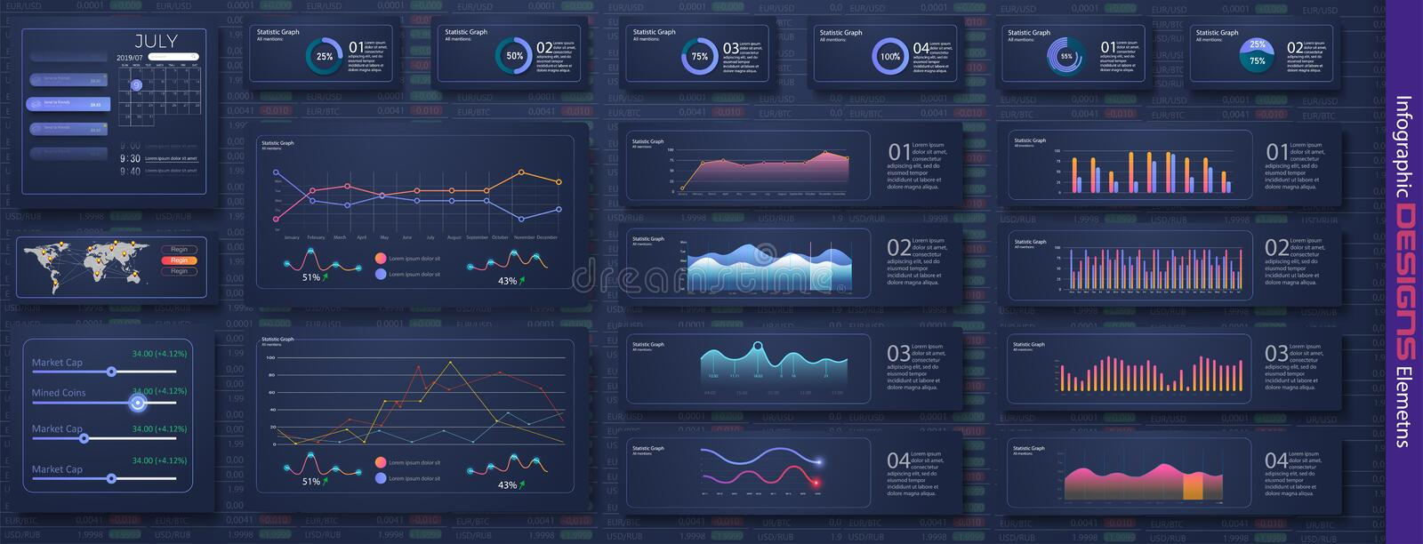 Modern infographic vector template with statistics graphs and finance royalty free illustration