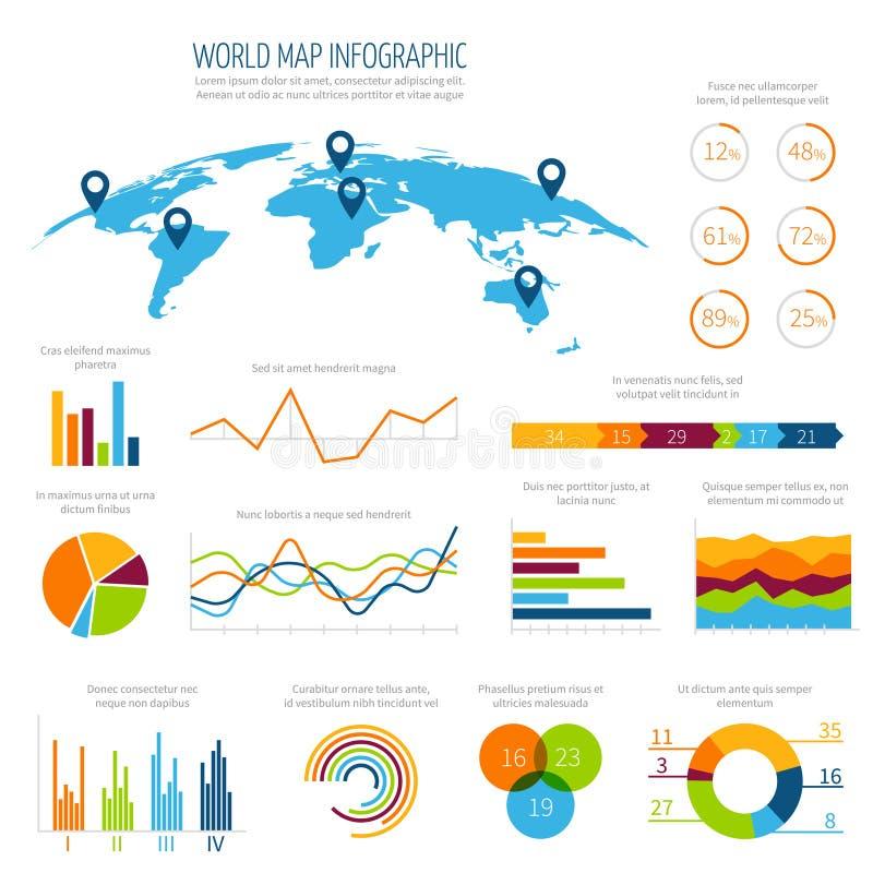 Modern infographic vectormalplaatje met 3d wereldkaart en grafieken vector illustratie