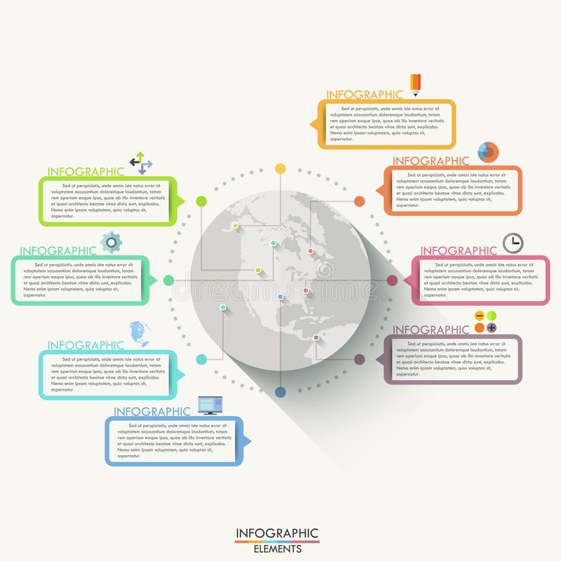 Modern infographics flat global template for 8 options. royalty free illustration