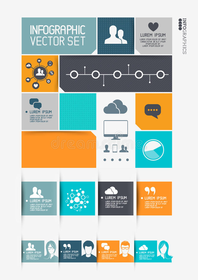 Modern Infographics Interface. Information boxes and tabs. Vector illustration royalty free illustration