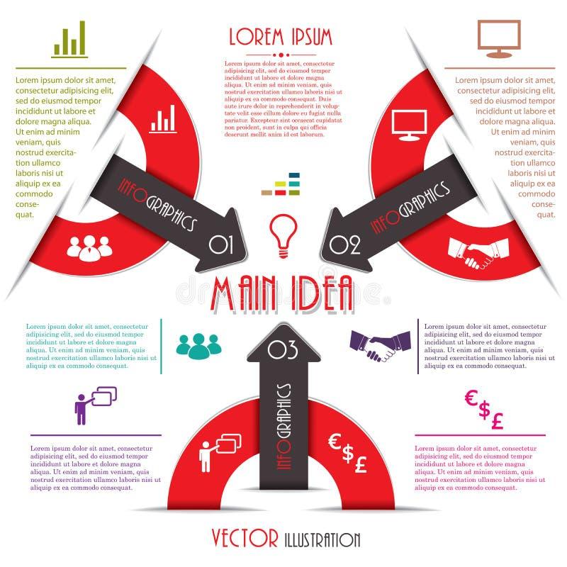 Modern Infographics-malplaatje. Bedrijfsontwerp. Vectorillustrati stock illustratie