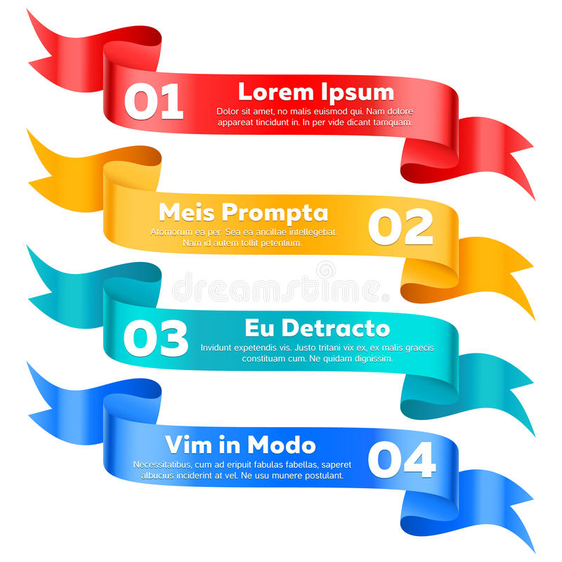 Modern infographics options ribbon banners vector set. Ribbon message, advertising ribbons royalty free illustration
