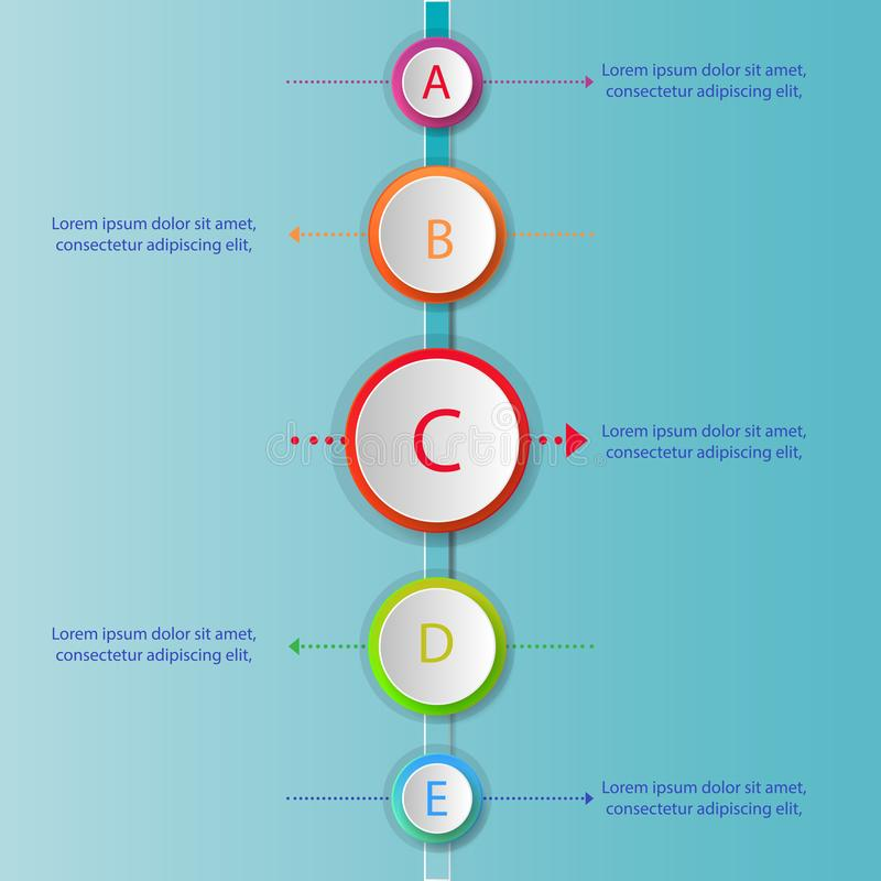 Modern infographics process template with 5 circle buttons icons vector illustration