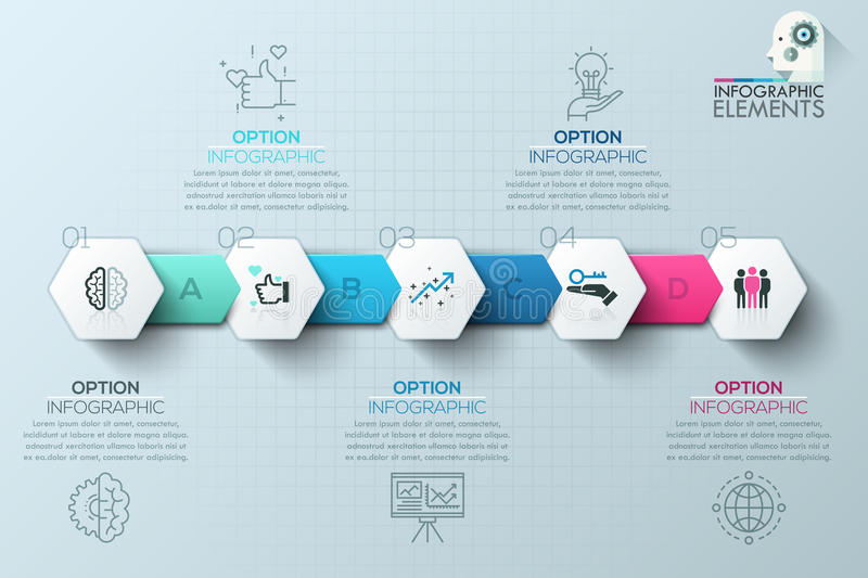 Modern infographics process template with paper polygons for 5 steps royalty free illustration