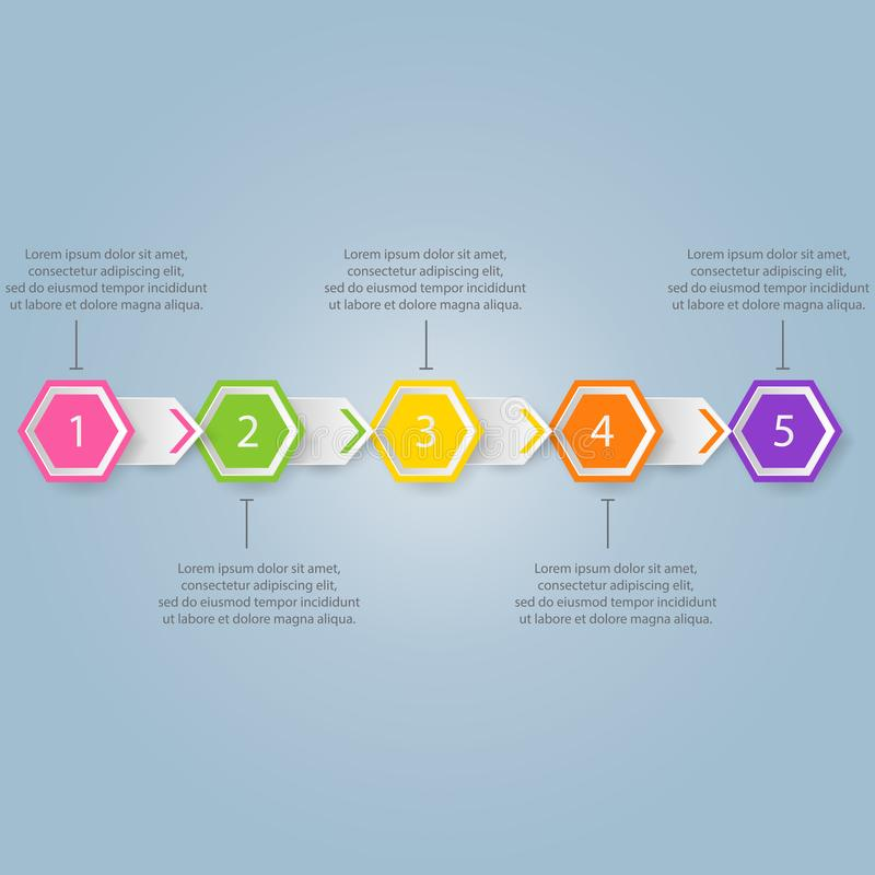 Modern infographics process template with paper sheets, polygons royalty free illustration