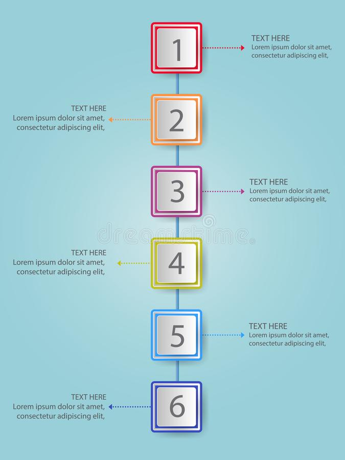Modern infographics process template with paper sheets rectangl vector illustration
