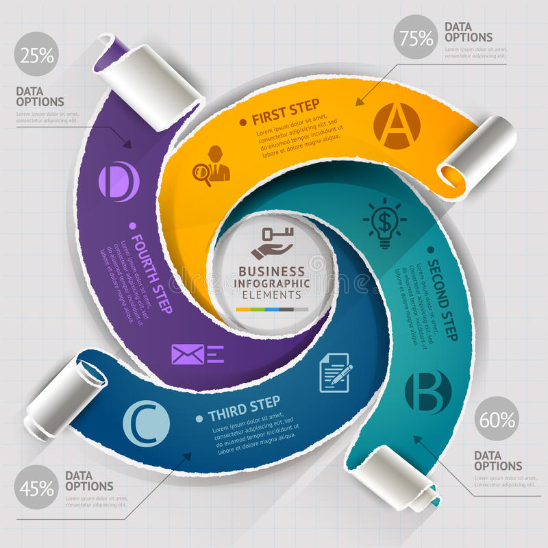 Modern infographics template torn paper style. stock illustration