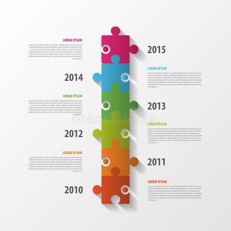 Modern infographicsdesign Timeline för formatpussel för begrepp redigerbar vektor vektor royaltyfri illustrationer