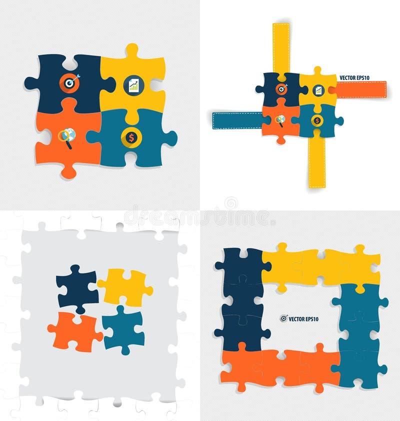 Modern infographicsmallstil Affärspusselstycken Vec stock illustrationer