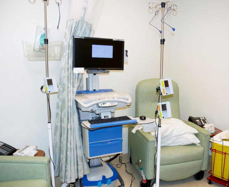 Modern infusion unit. For one -two patients with computer infusion sets with program stock images