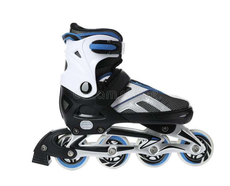 Modern inline roller skate. On white background royalty free stock images