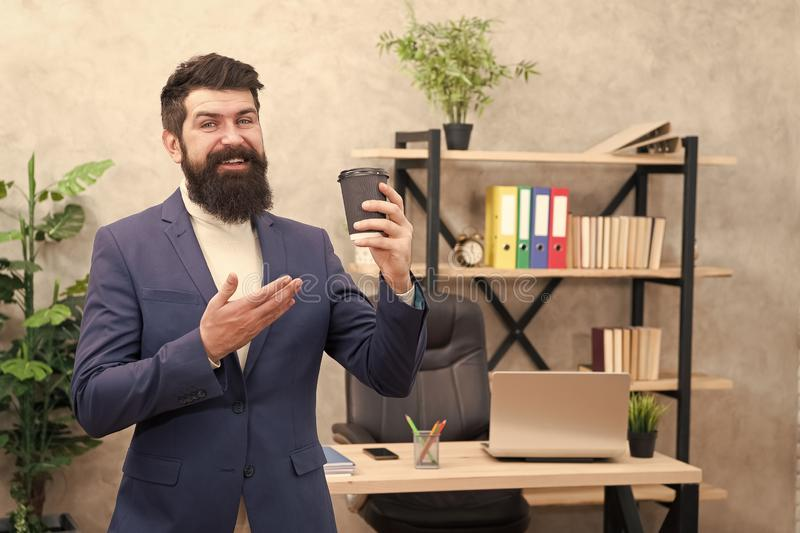 Modern innovation. Businessman in formal outfit. Confident man. Boss workplace. Coffee break. Bearded man in business royalty free stock photo