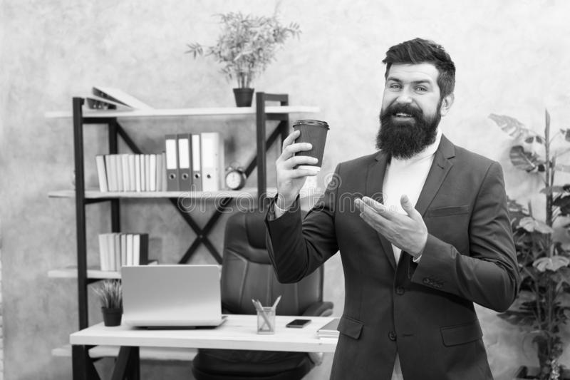 Modern innovation. Businessman in formal outfit. Confident man. Boss workplace. Coffee break. Bearded man in business stock photos