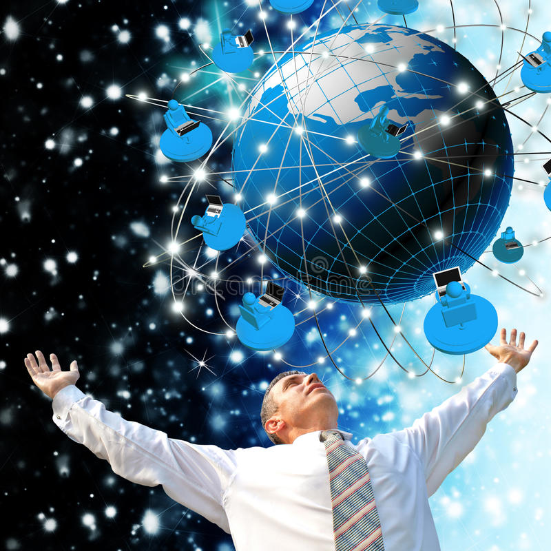 Modern innovation compiting technology. Globalization digital connection technology stock image