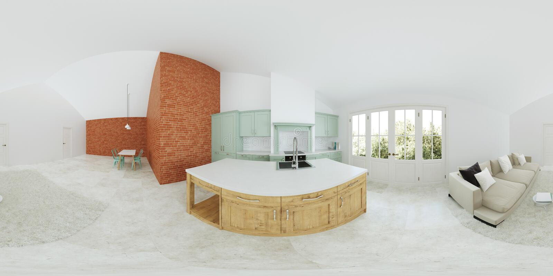 Modern inre av ett landshus grön inre köklampa för design Panorama 360 fotografering för bildbyråer