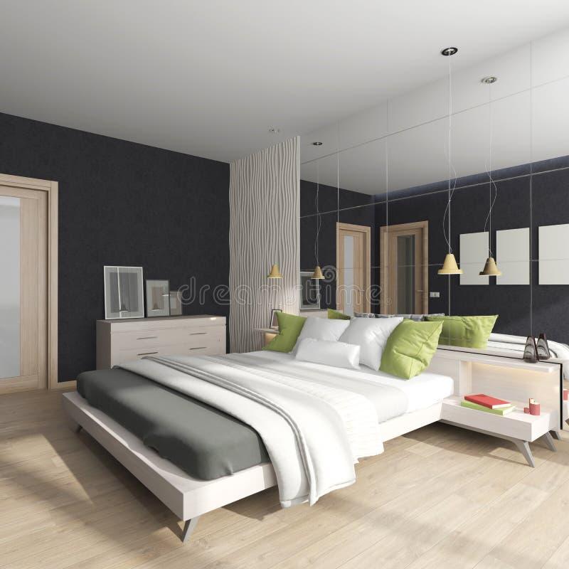 Modern inre av ett sovrum med en spegel på väggen stock illustrationer