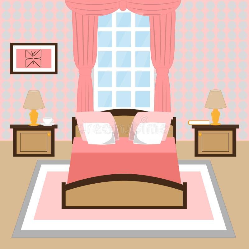 Modern inre av ett sovrum med fönstret stock illustrationer