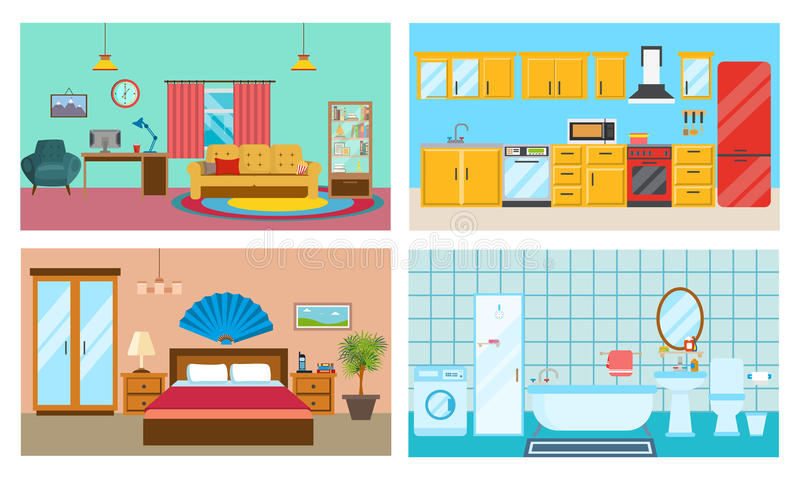 Modern inre av rum: vardagsrum kök, sovrum, stilfullt badrum royaltyfri illustrationer