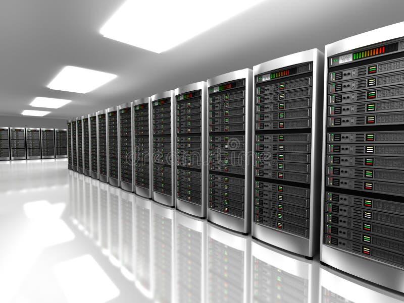 Modern inre av serverrum i datacenter stock illustrationer