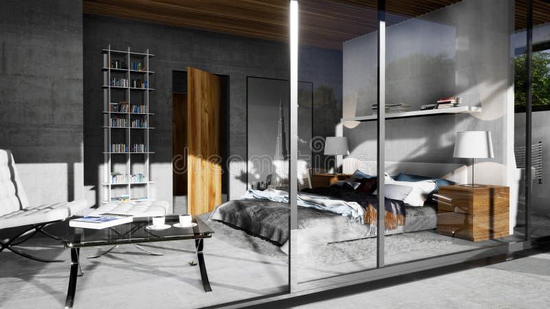 Modern inre av sovrummet i villa arkivbilder